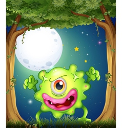 A forest with a one-eyed green monster vector