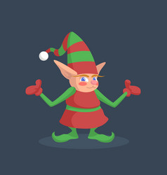 a picture of a christmas elf that spreads its arms vector image