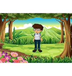 A smart man at the jungle vector image