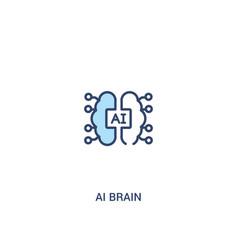 Ai brain concept 2 colored icon simple line vector