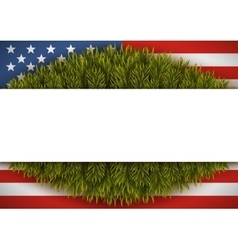 American flag and christmas tree Greeting card vector image