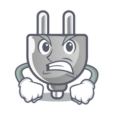 angry isolated power plug in the mascot vector image