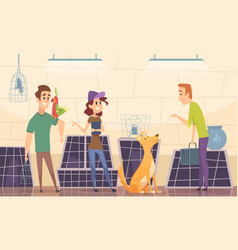 animal shelter owners choose puppy dog in cage vector image