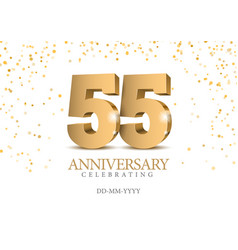anniversary 55 gold 3d numbers vector image
