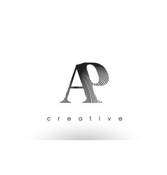 Ap logo design with multiple lines and black vector
