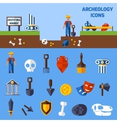 Archeology Icons Set vector image