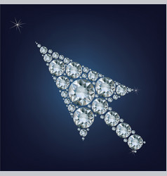 Arrow cursor shape made up a lot of diamonds vector