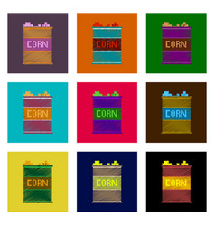 Assembly of flat shading style pixel icon corn in vector