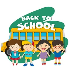 Back to school theme with children and bus vector image