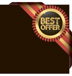 Best offer golden label with ribbons vector