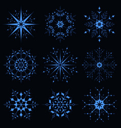 blue sparkling snowflake vector image