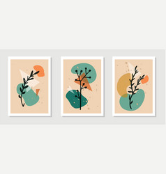 Botanical wall art set plant elements line vector