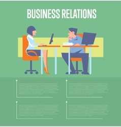 Business relations banner with business people vector image