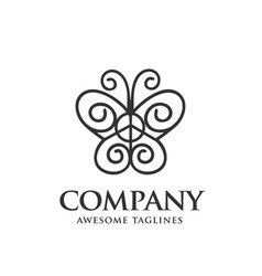 butterfly line art logo vector image