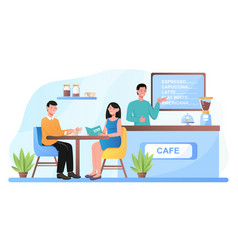 cafe shop and romantic partners relaxing vector image