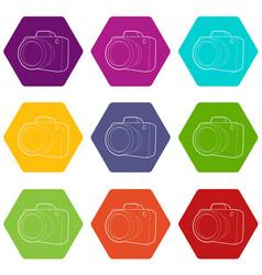 camera icons set 9 vector image