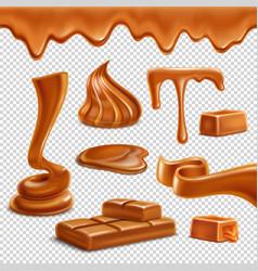 Caramel realistic transparent set vector