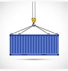 Cargo container hanging on a crane hook vector