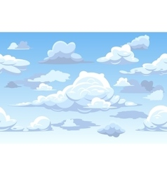 Cartoon blue cloudy sky horizontal seamless vector