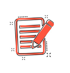 cartoon document with pencil icon in comic style vector image