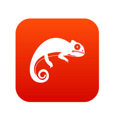 Chameleon icon digital red vector