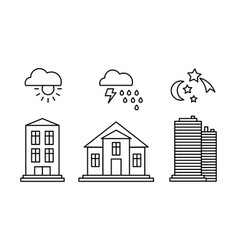 city buildings and with weather icons sunny vector image