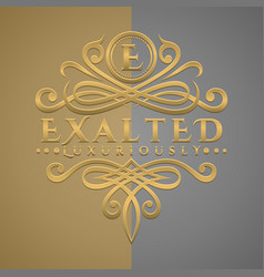 Classic luxurious letter e logo with embossed vector