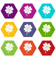 clover leaf icon set color hexahedron vector image