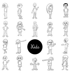 comic children characters black and white set vector image