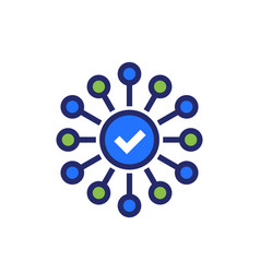 Connections or connect icon with checkmark vector
