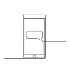 continuous one line smartphone with a dialog box vector image