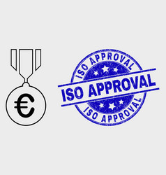 contour euro medal icon and distress iso vector image