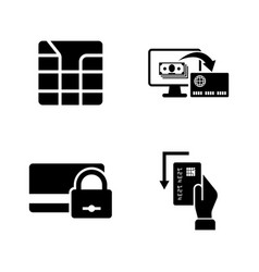Credit cards simple related icons vector
