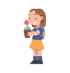 Curious girl holding pot with blooming flower vector