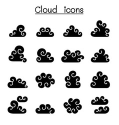 curl cloud icon set vector image