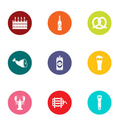 Date of birth icons set flat style vector
