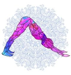 Decorative colorful yoga pose over ornate round vector