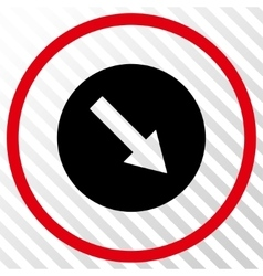 Down-Right Rounded Arrow Icon vector image