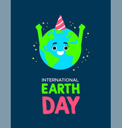 earth day poster of planet with birthday hat vector image
