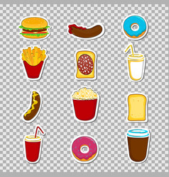 Fast food cartoon stickers vector