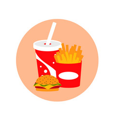fast food lunch meal set vector image