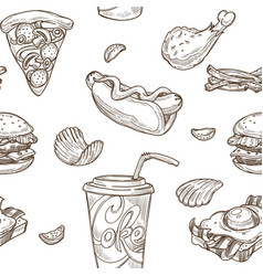 fast food sketch pattern background vector image