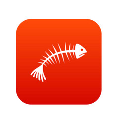 fish bones icon digital red vector image