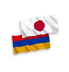 Flags japan and armenia on a white background vector
