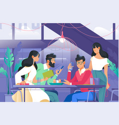 flat company with woman and man in cafe drinking vector image