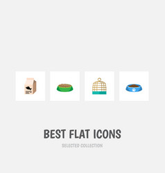 flat icon pets set of cat eating bird priso vector image vector image