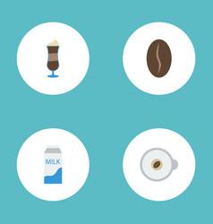 Flat icons cappuccino arabica bean mocha and vector