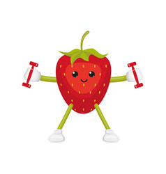Flat strawberry character doing fitness vector