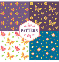 floral seamless pattern with flowers and butterfli vector image