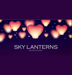 Flying sky lanterns chinese light effect vector